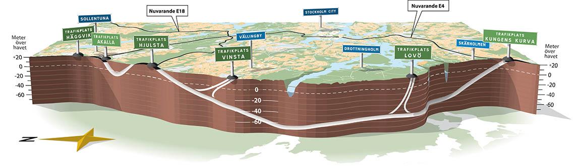 illustration över Förbifarten Stockholms sträckning.